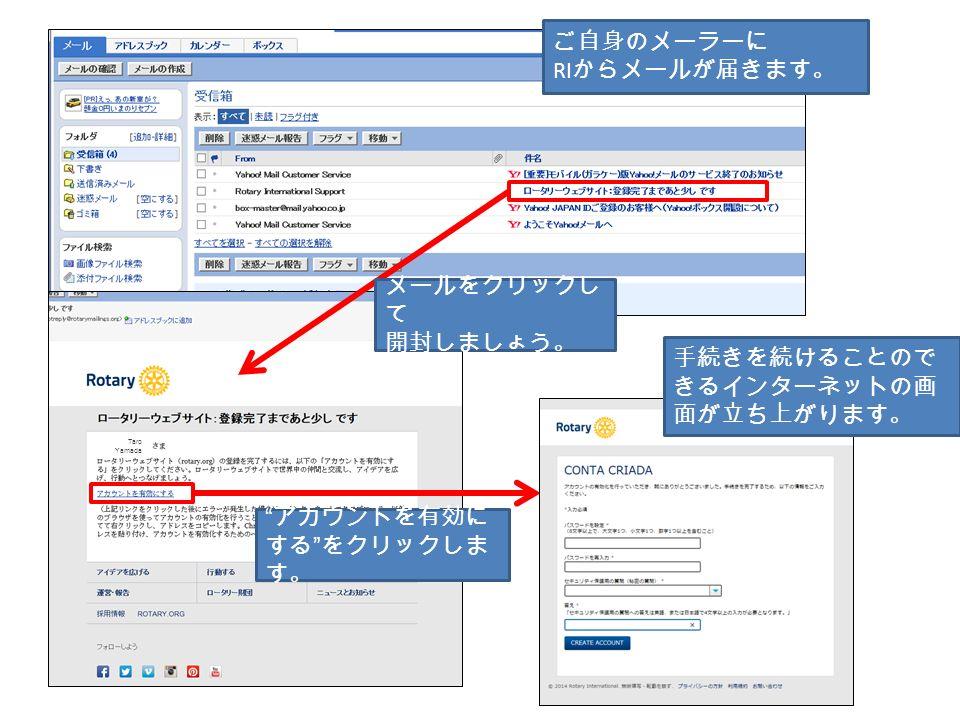 Taro Yamada ご自身のメーラーに RI からメールが届きます。 メールをクリックし て 開封しましょう。 手続きを続けることので きるインターネットの画 面が立ち上がります。 アカウントを有効に する をクリックしま す。