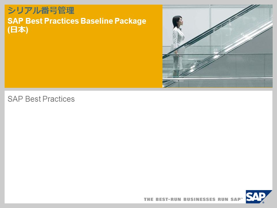 シリアル番号管理 SAP Best Practices Baseline Package ( 日本 ) ‎SAP Best Practices