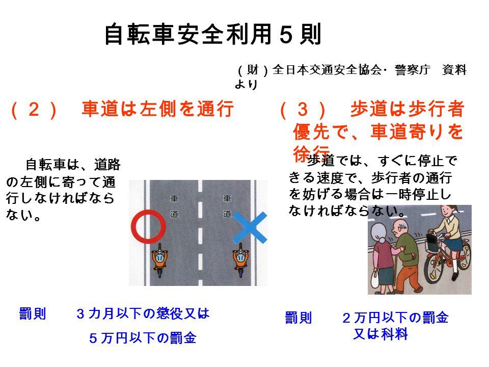 (2) 車道は左側を通行 自転車安全利用5則 (財)全日本交通安全協会・警察庁 資料 より 自転車は、道路 の左側に寄って通 行しなければなら ない。 罰則 3カ月以下の懲役又は 5万円以下の罰金 (3) 歩道は歩行者 優先で、車道寄りを 徐行 歩道では、すぐに停止で きる速度で、歩行者の通行 を妨げる場合は一時停止し なければならない。 罰則 2万円以下の罰金 又は科料