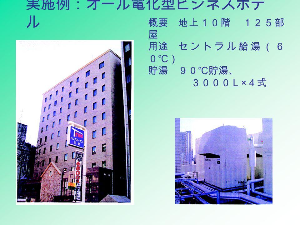 実施例:オール電化型ビジネスホテ ル 概要地上10階 125部 屋 用途セントラル給湯(6 0℃) 貯湯90℃貯湯、 3000L × 4式