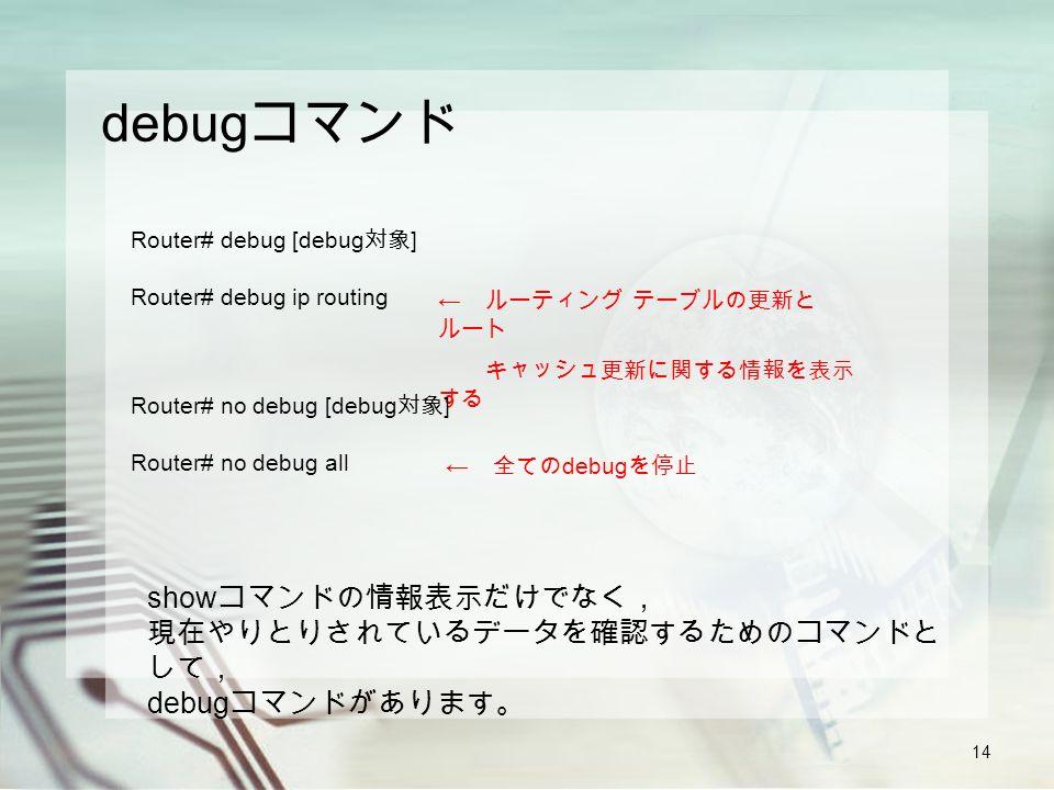 14 debug コマンド show コマンドの情報表示だけでなく, 現在やりとりされているデータを確認するためのコマンドと して, debug コマンドがあります。 Router# debug [debug 対象 ] Router# debug ip routing ← ルーティング テーブルの更新と ルート キャッシュ更新に関する情報を表示 する Router# no debug [debug 対象 ] Router# no debug all ← 全ての debug を停止