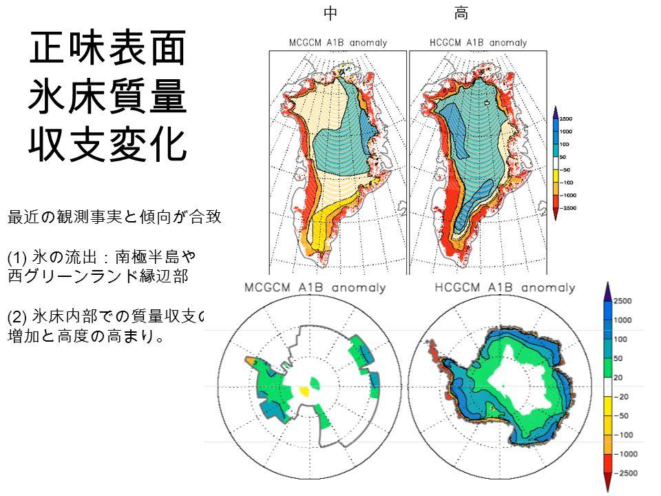 正味表面 氷床質量 収支変化 高中 最近の観測事実と傾向が合致 (1) 氷の流出:南極半島や 西グリーンランド縁辺部 (2) 氷床内部での質量収支の 増加と高度の高まり。