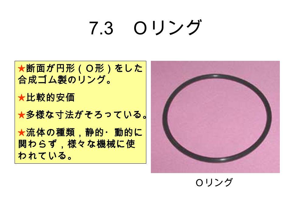 7.3 Oリング ★断面が円形(O形)をした 合成ゴム製のリング。 ★比較的安価 ★多様な寸法がそろっている。 ★流体の種類,静的・動的に 関わらず,様々な機械に使 われている。 Oリング