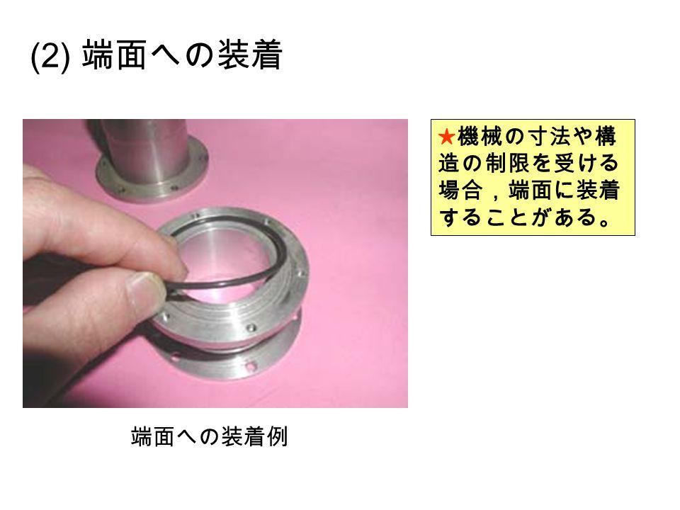 (2) 端面への装着 ★機械の寸法や構 造の制限を受ける 場合,端面に装着 することがある。 端面への装着例