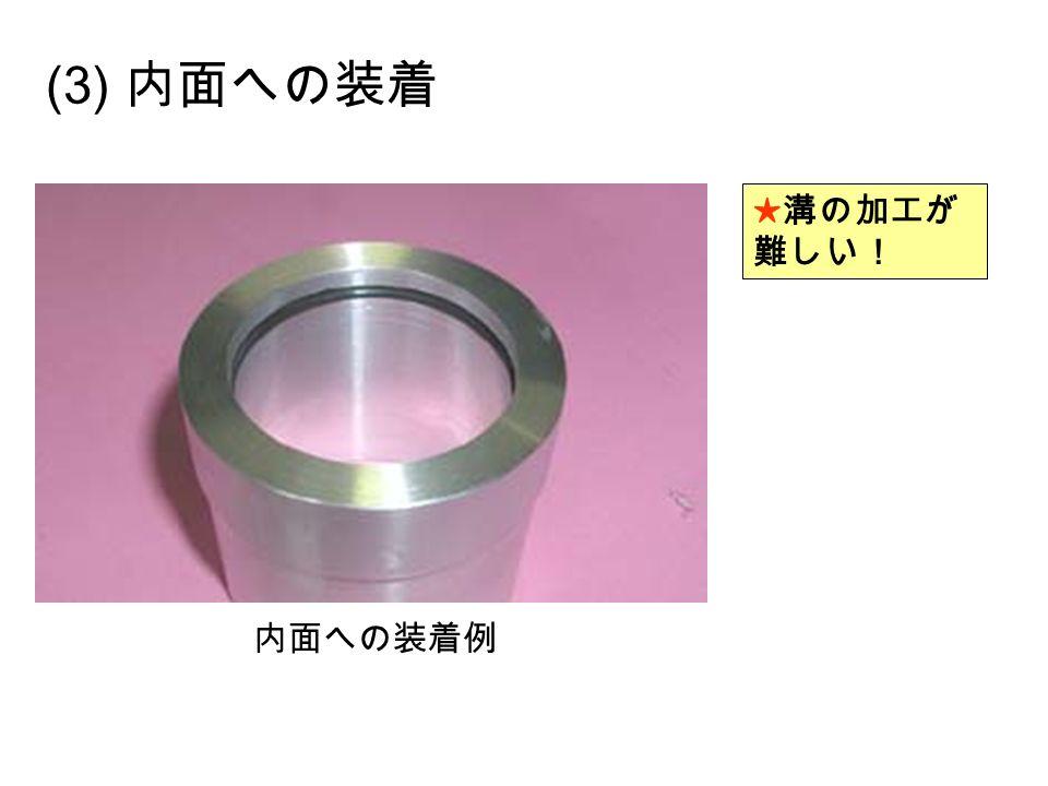 (3) 内面への装着 ★溝の加工が 難しい! 内面への装着例