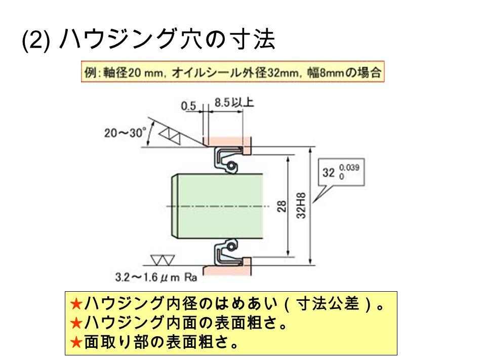 (2) ハウジング穴の寸法 ★ハウジング内径のはめあい(寸法公差)。 ★ハウジング内面の表面粗さ。 ★面取り部の表面粗さ。
