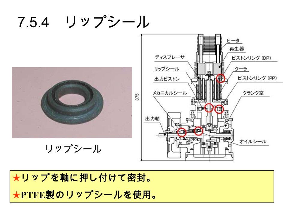 7.5.4 リップシール ★リップを軸に押し付けて密封。 ★ PTFE 製のリップシールを使用。 リップシール