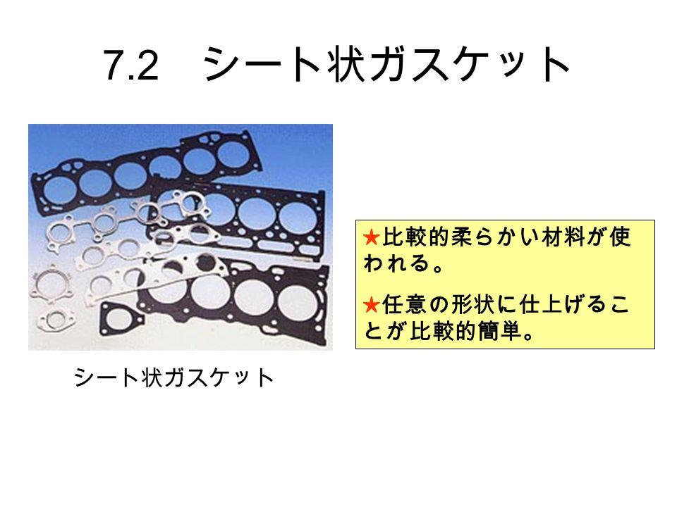 7.2 シート状ガスケット ★比較的柔らかい材料が使 われる。 ★任意の形状に仕上げるこ とが比較的簡単。 シート状ガスケット