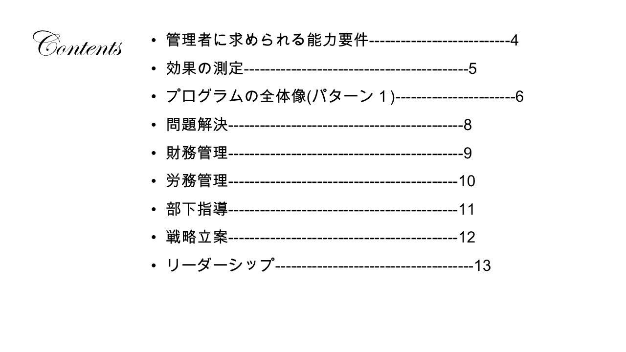 Contents 管理者に求められる能力要件 ---------------------------4 効果の測定 -------------------------------------------5 プログラムの全体像 ( パターン1 )-----------------------6 問題解決 ---------------------------------------------8 財務管理 ---------------------------------------------9 労務管理 --------------------------------------------10 部下指導 --------------------------------------------11 戦略立案 --------------------------------------------12 リーダーシップ --------------------------------------13