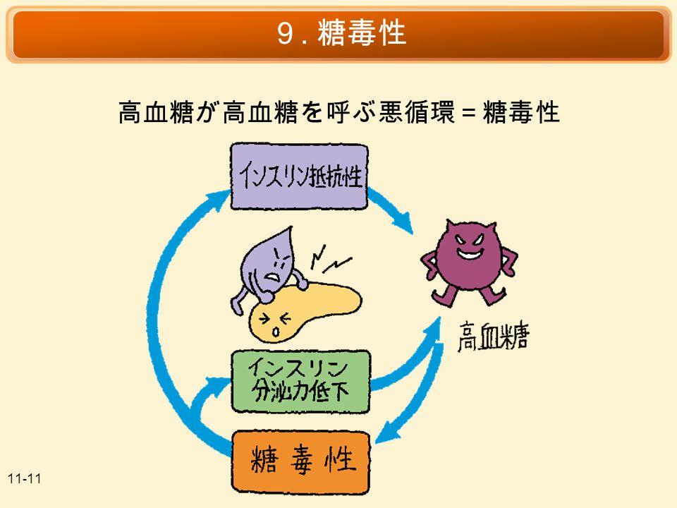 11-11 9. 糖毒性 高血糖が高血糖を呼ぶ悪循環=糖毒性