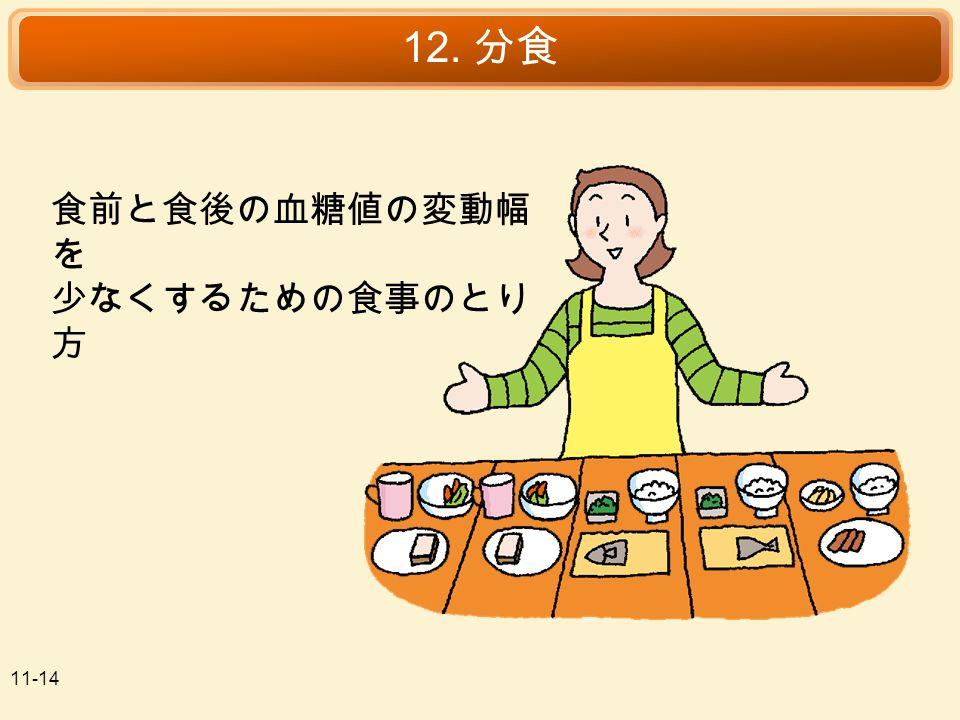 11-14 12. 分食 食前と食後の血糖値の変動幅 を 少なくするための食事のとり 方