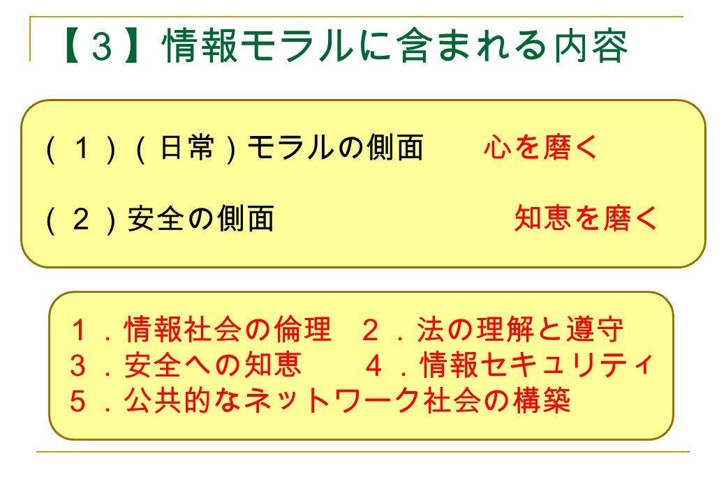 【3】情報モラルに含まれる内容 (1)(日常)モラルの側面 心を磨く (2)安全の側面 知恵を磨く 1.情報社会の倫理 2.法の理解と遵守 3.安全への知恵 4.情報セキュリティ 5.公共的なネットワーク社会の構築