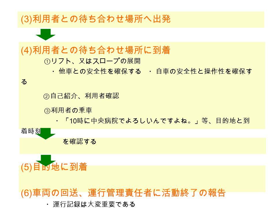 (1) 運行管理責任者との事前打ち合わせ (2) 運行管理責任者から指示を受けた車両の確認、 始業点検 リフトの作動点検 (トヨタ自動車ホームページ より) 1 ) 利用者の 氏名 、状況 2 ) 利用目的、 送迎先 、出発時刻および到着時刻 3 ) 車いすの有無とそのタイプ、送迎で使用する 車両 の確認 ・運行管理責任者の点呼等