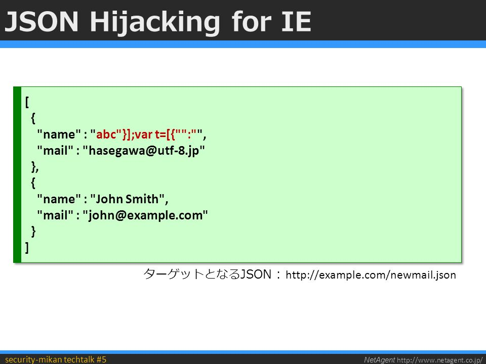 NetAgent http://www.netagent.co.jp/ security-mikan techtalk #5 JSON Hijacking for IE [ { name : abc }];var t=[{ : , mail : hasegawa@utf-8.jp }, { name : John Smith , mail : john@example.com } ] [ { name : abc }];var t=[{ : , mail : hasegawa@utf-8.jp }, { name : John Smith , mail : john@example.com } ] ターゲットとなるJSON : http://example.com/newmail.json
