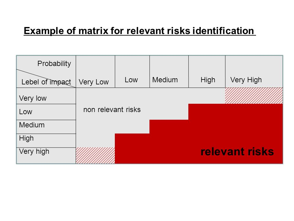 Example of matrix for relevant risks identification Lebel of impactVery Low LowMediumHighVery High Very low Low Medium High Very high Probability relevant risks non relevant risks