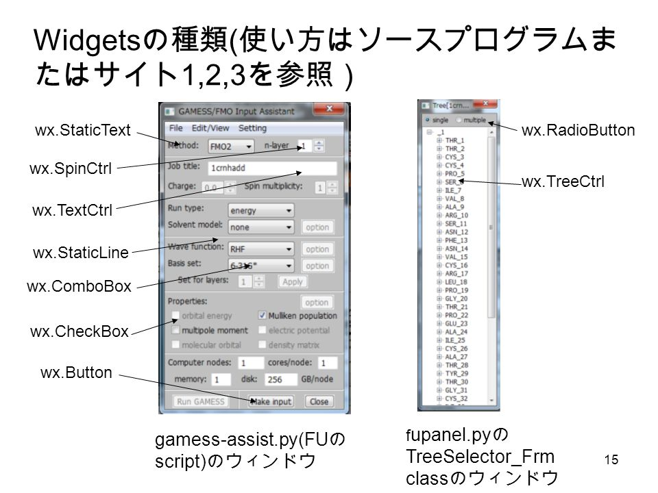 15 Widgets の種類 ( 使い方はソースプログラムま たはサイト 1,2,3 を参照) gamess-assist.py(FU の script) のウィンドウ f upanel.py の TreeSelector_Frm class のウィンドウ wx.TreeCtrl wx.StaticText wx.TextCtrl wx.Button wx.ComboBox wx.SpinCtrl wx.StaticLine wx.CheckBox wx.RadioButton