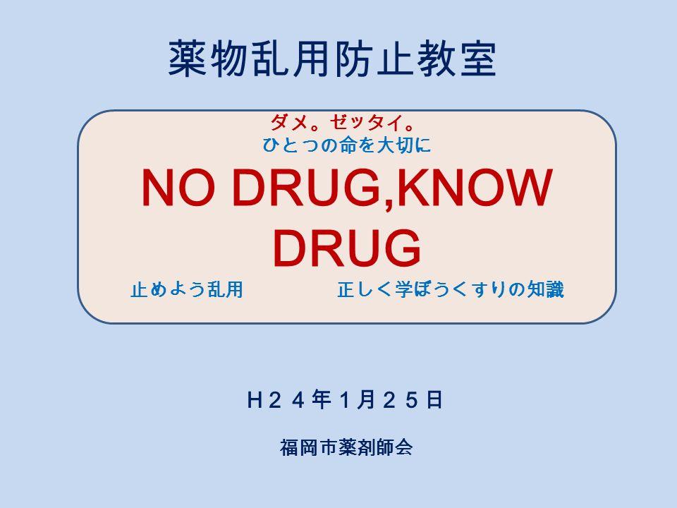 薬物乱用防止教室 h 24年1月25日 福岡市薬剤師会 ダメ ゼッタイ