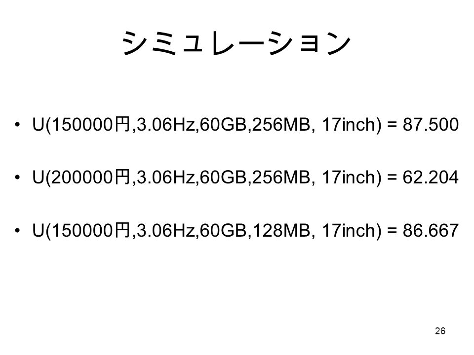 シミュレーション U( 円,3.06Hz,60GB,256MB, 17inch) = U( 円,3.06Hz,60GB,256MB, 17inch) = U( 円,3.06Hz,60GB,128MB, 17inch) =
